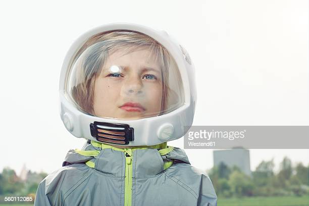 Boy dressed up as spaceman