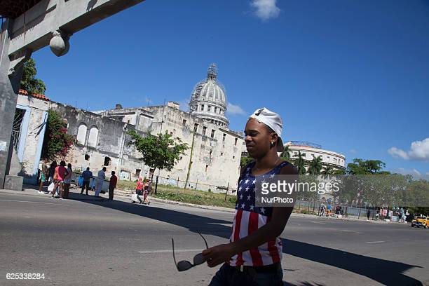 A boy dressed with a USA´s tshirt near National Capitol Building in Havana Cuba on 23 November 2016