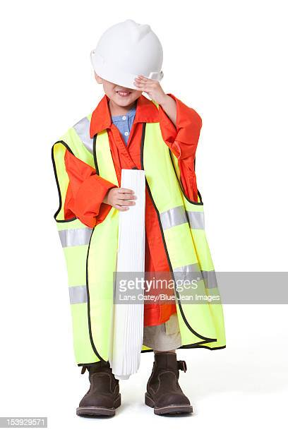 boy dressing up like a engineer - kids costume engineer stock photos and pictures