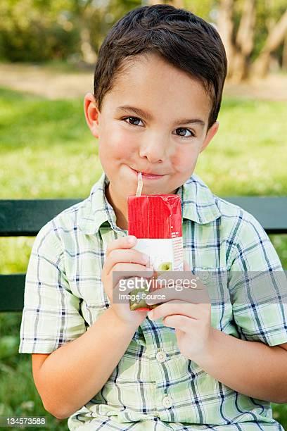 Boy drinking from juice carton, portrait