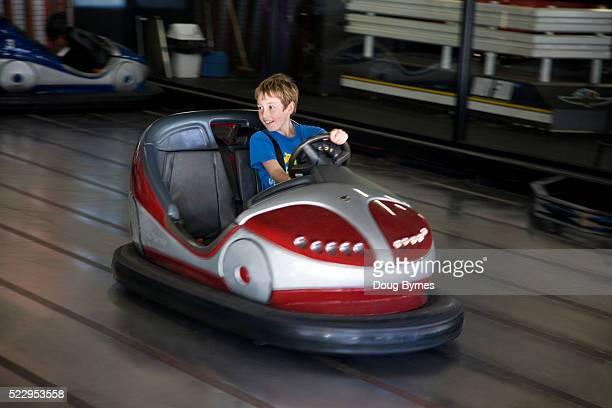 Boy Driving a Bumper Car
