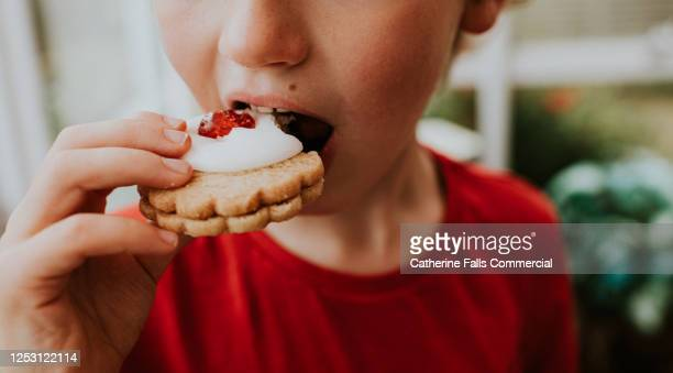 boy eating a german biscuit - indulgence stock pictures, royalty-free photos & images