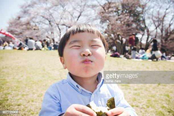 boy eating a rice bowl in the park - hanami stock pictures, royalty-free photos & images