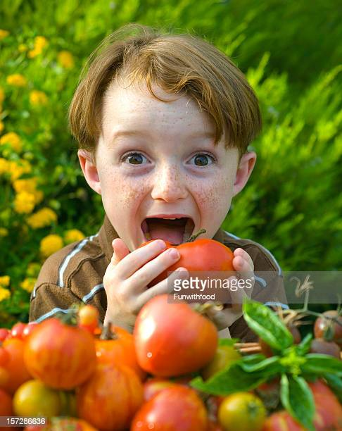 Boy Eating Heirloom Tomato, Redhead Child Loves Healthy Vegetables Food