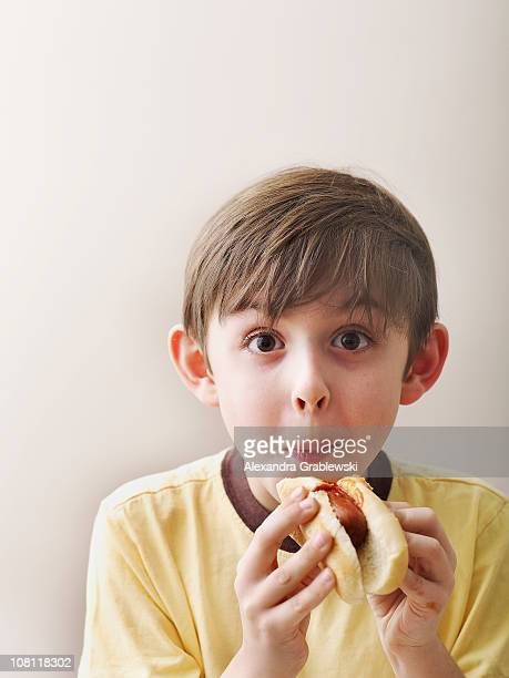 Boy Eating Hot Dog
