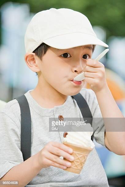 Boy Eating Soft Ice cream