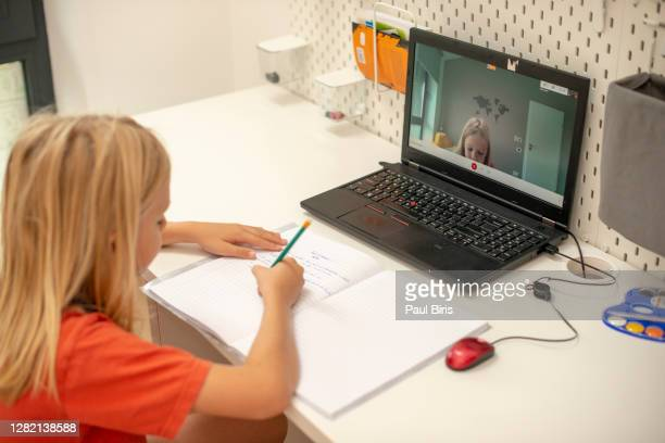 boy enjoy self study with e-learning at home - distant stock pictures, royalty-free photos & images