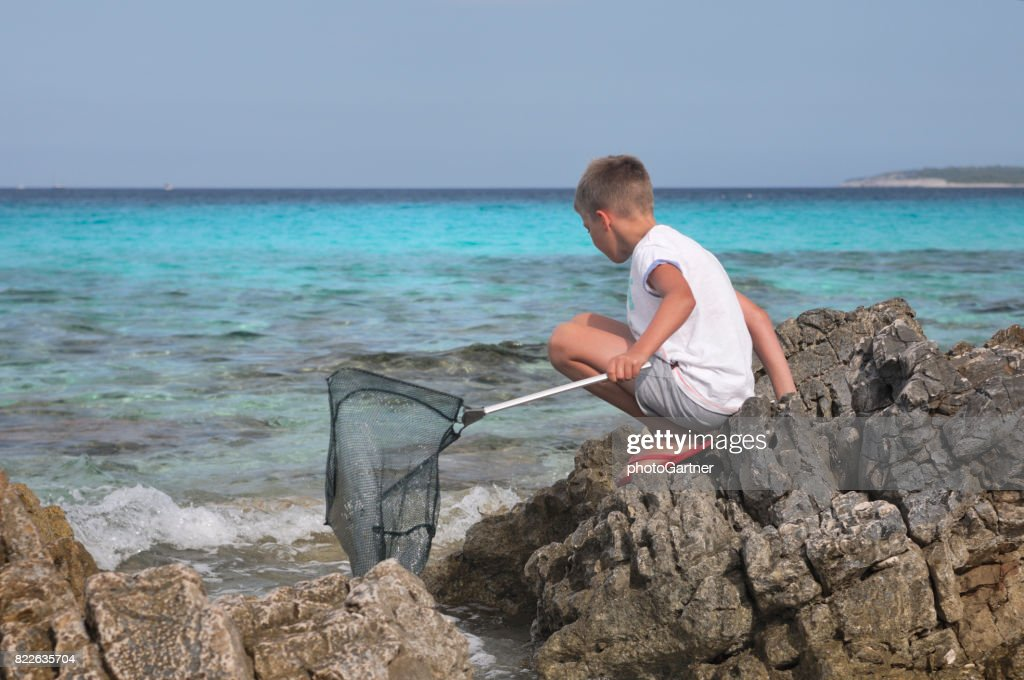 Boy exploring sea and coast : Stock Photo
