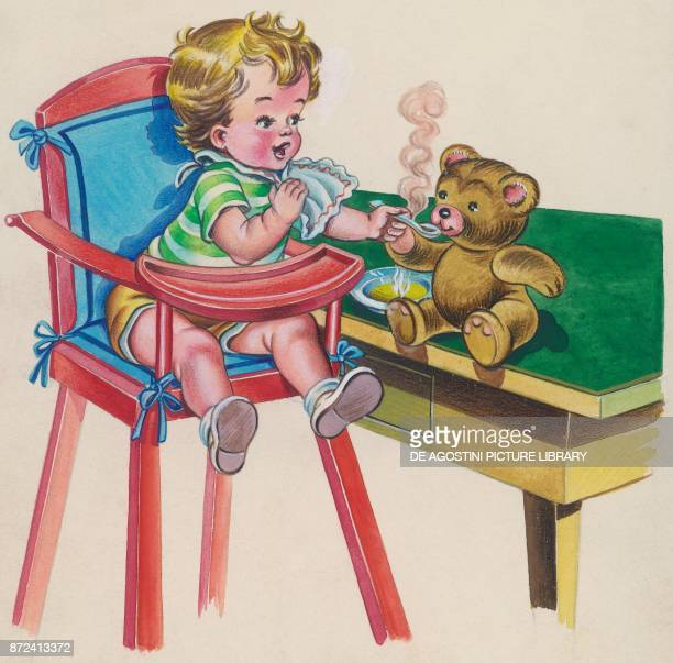 A boy feeds his teddy bear with a spoon children's illustration drawing