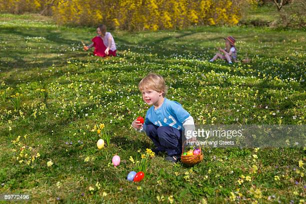 boy finding easter eggs