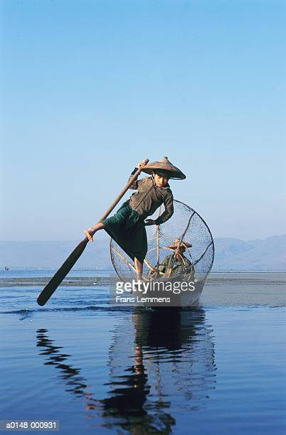 Boy Fishing in Traditional Way
