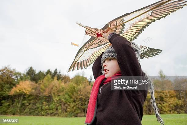 boy flies a kite - stefanie grewel stock-fotos und bilder