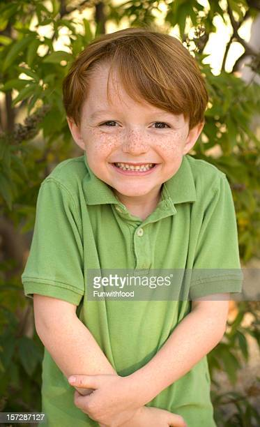 Boy Freckle Face Redhead in Polo Shirt, Happy Smiling Child
