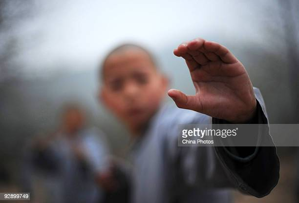 Boy from Shaolin Kung Fu Training Base practices Kung Fu movements at the Shaolin Temple on the Songshan Mountain on October 30, 2009 in Dengfeng of...