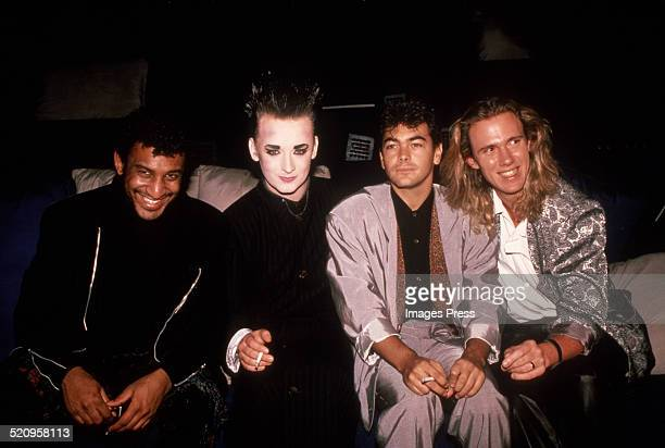Boy George and Culture Club band members circa 1985 in New York City