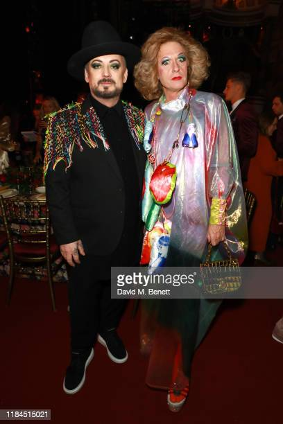Boy George and Grayson Perry attend the 65th Evening Standard Theatre Awards In Association With Michael Kors at London Coliseum on November 24 2019...