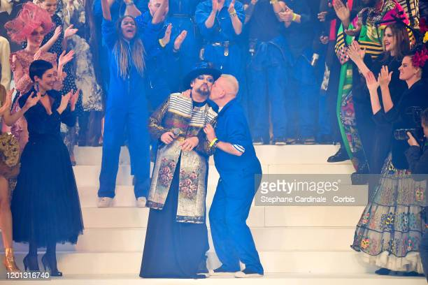 Boy George and Jean Paul Gaultier at the runway during the Jean-Paul Gaultier Haute Couture Spring/Summer 2020 show as part of Paris Fashion Week at...