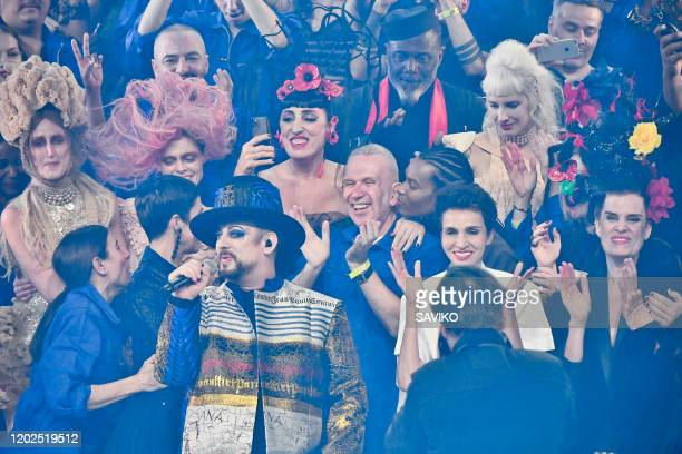 Boy George and Jean Paul Gaultier during the JeanPaul Gaultier Haute Couture Spring/Summer 2020 fashion show as part of Paris Fashion Week at Theatre...