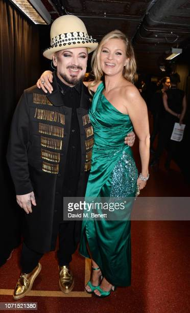 Boy George and Kate Moss pose backstage at The Fashion Awards 2018 in partnership with Swarovski at the Royal Albert Hall on December 10 2018 in...
