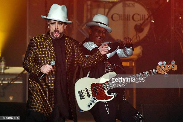 Boy George and Mikey Craig of Culture Club perform live on stage at Wembley Arena on December 14 2016 in London United Kingdom