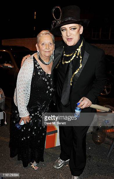 Boy George and mother Dinah O'Dowd attend Boy George's 50th Birthday celebration on June 14, 2011 in London, England.