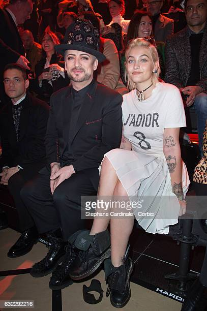 Boy George and Paris Jackson attend the Dior Homme Menswear Fall/Winter 20172018 show as part of Paris Fashion Week on January 21 2017 in Paris France