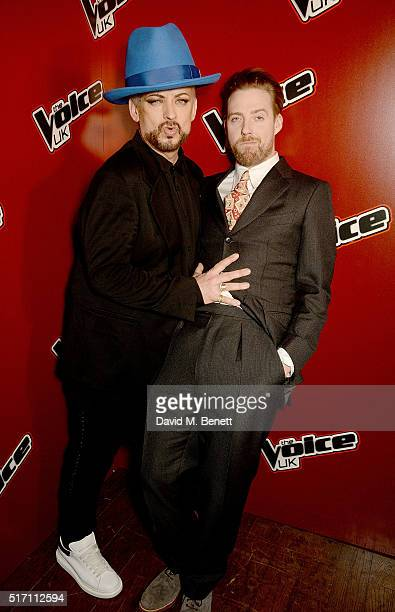 Boy George and Ricky Wilson attend The Voice UK Open Mic Night at The Scotch of St James on March 23 2016 in London England