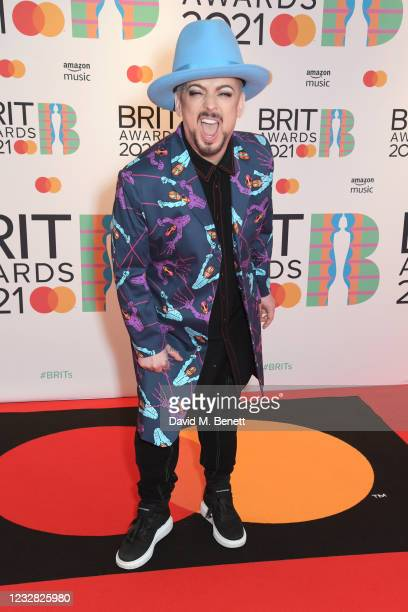 Boy George arrives at The BRIT Awards 2021 at The O2 Arena on May 11, 2021 in London, England.