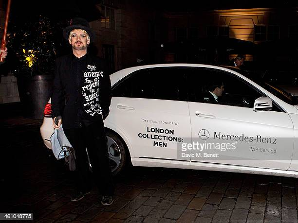 Boy George arrives for the London Collections Men Esquire party at Rosewood London on January 6 2014 in London England