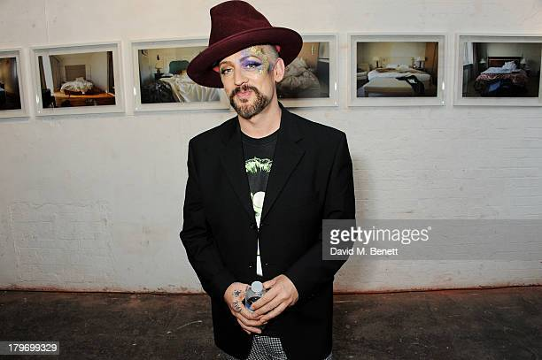 Boy George attends a private view of the Platform Six exhibition with adidas Originals Stan Smith auction in support of Stonewall charity at Oxo...