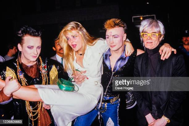 Boy George, Cornelia Guest, Marilyn and Andy Warhol during the Hall and Oates after concert party on May 23rd 1985