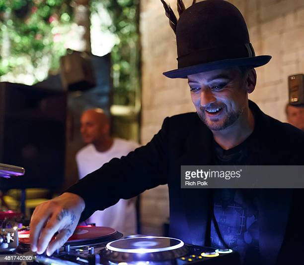 Boy George djs at the Boy George/Culture Club Sold Out Concert After Party at Le Jardin on July 23 2015 in Hollywood California