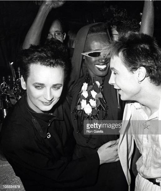 Boy George Grace Jones and Marilyn during 'A View to a Kill' Screening Party at Les Tuileries in New York City New York United States