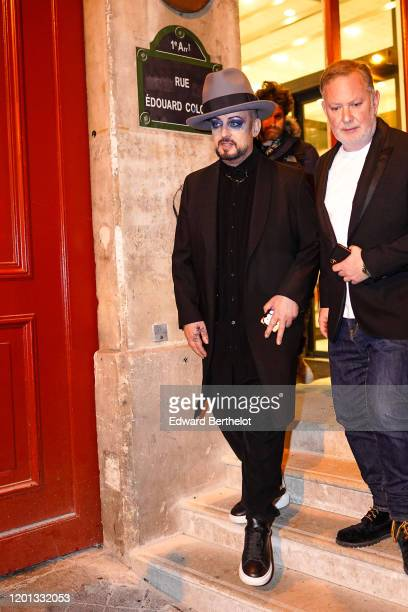 Boy George is seen, outside the Jean-Paul Gaultier show, during Paris Fashion Week - Haute Couture Spring/Summer 2020, on January 22, 2020 in Paris,...