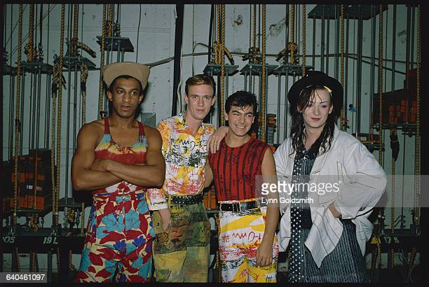 Boy George lead singer of the popular 1980s New Wave band Culture Club stands backstage with band mates Mikey Craig Roy Hay and Jon Moss