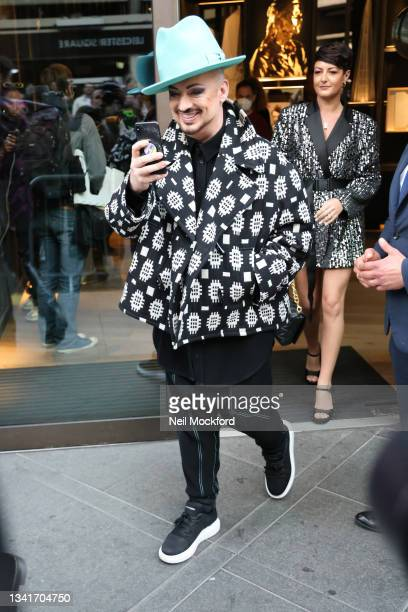 Boy George leaving Richard Quinn fashion show at The Londoner Hotel during London Fashion Week September 2021 on September 21, 2021 in London,...