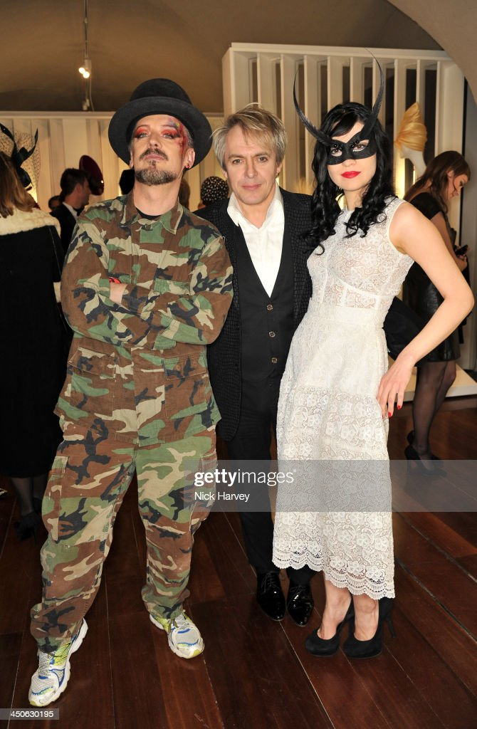 Boy George, Nick Rhodes and Nefer Suvio attend the private view of Isabella Blow: Fashion Galore! Party at Somerset House on November 19, 2013 in London, England.