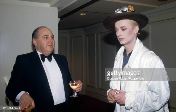 Boy George of Culture Club during the Brit Awards at the Grosvenor House Hotel in London England on February 9 1987 George presented the award for...