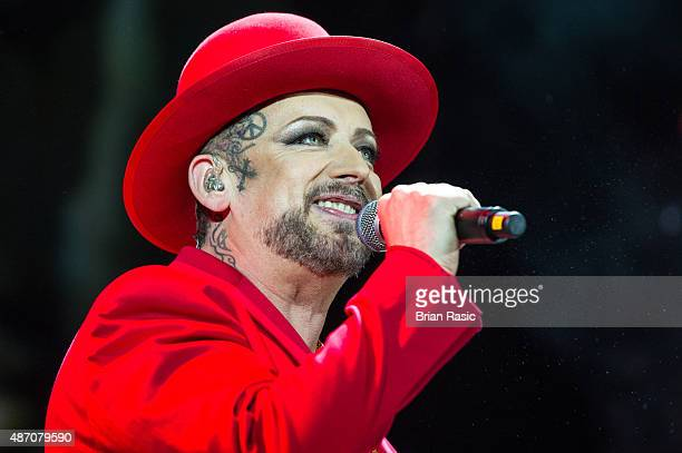 Boy George of Culture Club performs in concert at Eventim Apollo on September 5 2015 in London England