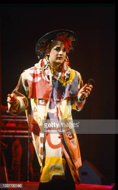Boy George of Culture Club performs on stage at Wembley Arena 17 December 1984 .