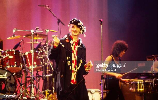 Boy George of Culture Club performs on stage, London, 1987.
