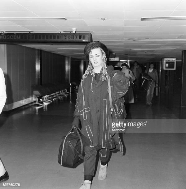 Boy George of the pop group Culture Club arriving at Heathrow from Paris 20th November 1983