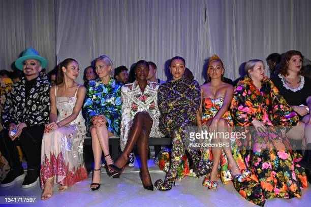 Boy George, Olga Kurylenko, Pom Klementieff, Dina Asher-Smith, Mahilia, Mabel and Nicola Coughlan attend the Richard Quinn show during London Fashion...