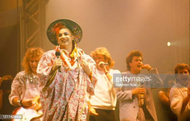 Boy George, Paul Young, George Michael, Tony Hadley, performing the Band Aid song 'Do They Know It's Christmas?' during Culture Club's show, 22...