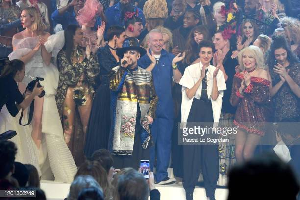 Boy George perfoms on the runway during the JeanPaul Gaultier Haute Couture Spring/Summer 2020 show as part of Paris Fashion Week at Theatre Du...