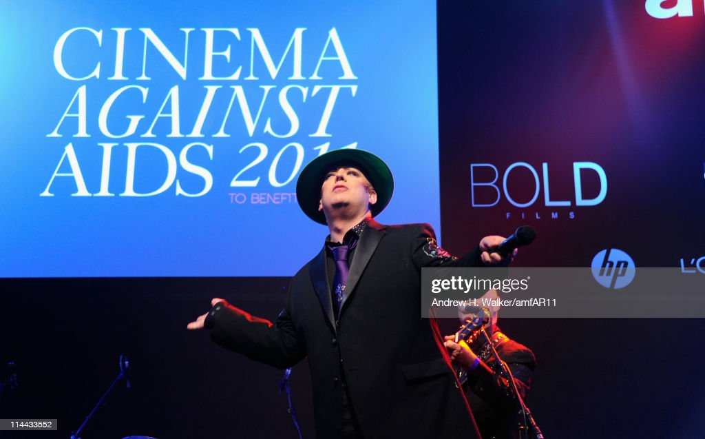 Boy George performs during amfAR's Cinema Against AIDS Gala during the 64th Annual Cannes Film Festival at Hotel Du Cap on May 19, 2011 in Antibes, France.