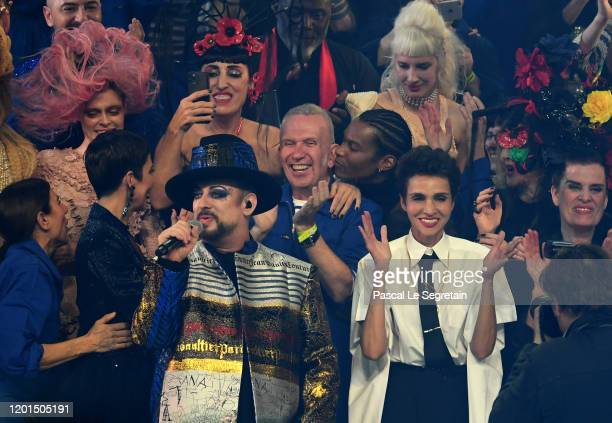 Boy George performs during the JeanPaul Gaultier Haute Couture Spring/Summer 2020 show as part of Paris Fashion Week at Theatre Du Chatelet on...