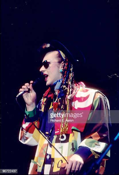 Boy George performs live on stage with Culture Club in Los Angeles in 1983