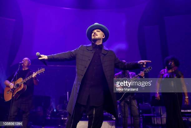 Boy George performs on stage at the SeriousFun London Gala 2018 at The Roundhouse on November 6 2018 in London England