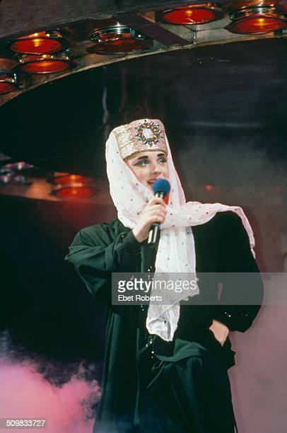 Boy George performs on stage with Culture Club 1984